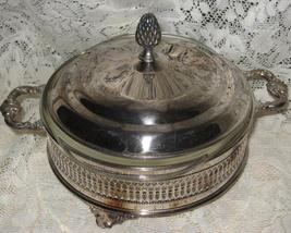 VTG Silverplate Covered Casserole Stand-With 1.5 QT Pyrex Insert-Mid Cen... - $38.00