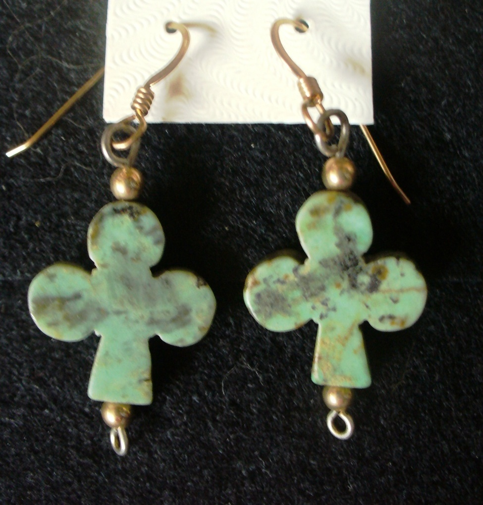 "Primary image for Turquoise ""Clubs"" 12/20 GF Dangle Earrings"
