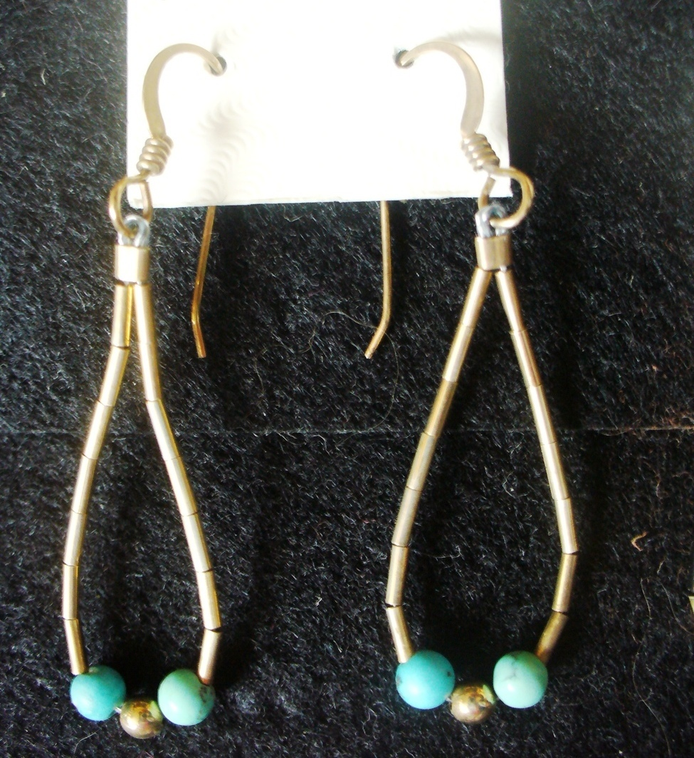 Primary image for Liquid 12/20 GF Gold & Turquoise Looped Dangle Earrings