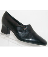 Karen Scott 'Riley' black leather square toe slip on bootie heel 7.5M - $28.66