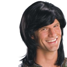 Wig - Adult - 70's Guy - Black - Men Mens Long Hair Disco Shag Costume A... - $213,78 MXN