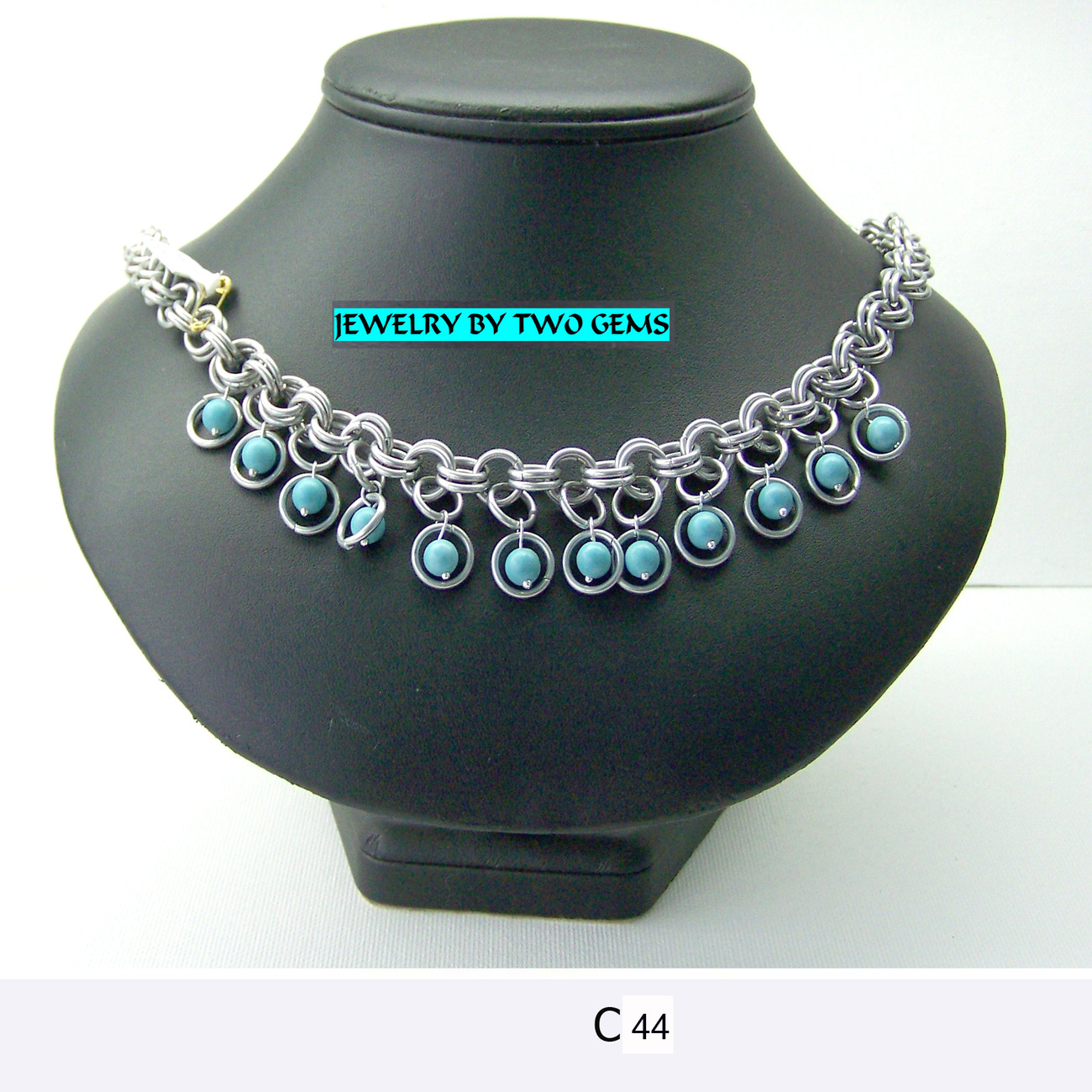 Jewelry By Two Gems (C44) Aluminum Chainmaille Necklace w Turquoise Beads