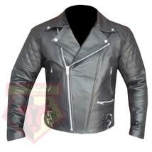 CUSTOM 4588 BLACK MOTORBIKE ARMOURED COWHIDE LEATHER MOTORCYCLE BIKRS JA... - $194.99