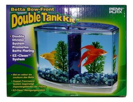 Betta Bow Front Double Tank Kit, Blue Tank Divider/Shield, Crystals, Plants, New