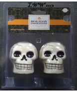 White Skull Ceramic Halloween Skull Salt and Pepper Shaker Set in Package - $9.99