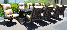 11 piece aluminum outdoor dining set patio chairs table Santa Anita bronze image 1
