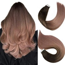 Tape In Hair Extensions Human Hair Balayage Ombre Hair 20pcs/50g Per Set Dark Br image 1