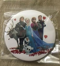 """Disney Frozen Pinback Button Pin 2"""" Round Main Characters White Background New - $3.09"""