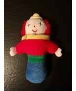 """Eden Toys Clown Rattle Plush Terry Cloth 6.5"""" Vintage Primary Color Eden... - $20.00"""