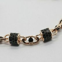 SOLID 18K ROSE GOLD BRACELET SQUARE TUBE OVAL LINK, BLACK ZIRCONIA, ITALY MADE image 4