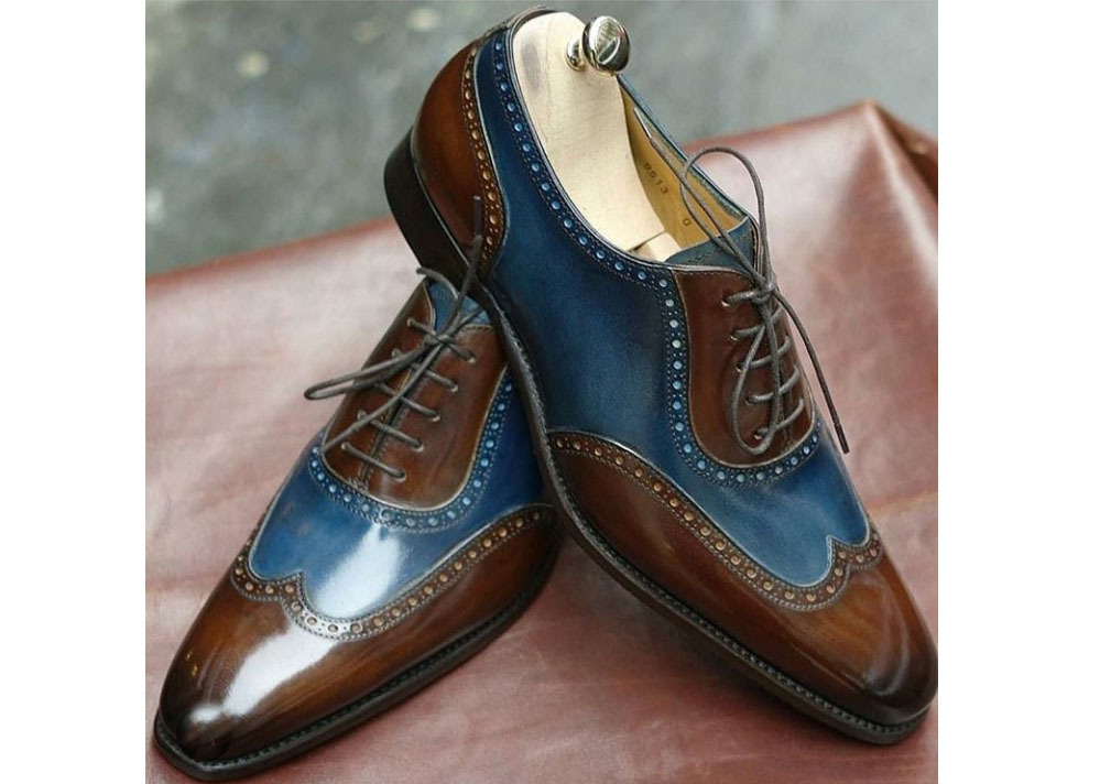 Handmade Men's Brown and Blue Leather Wing Tip Dress/Formal Oxford Shoes