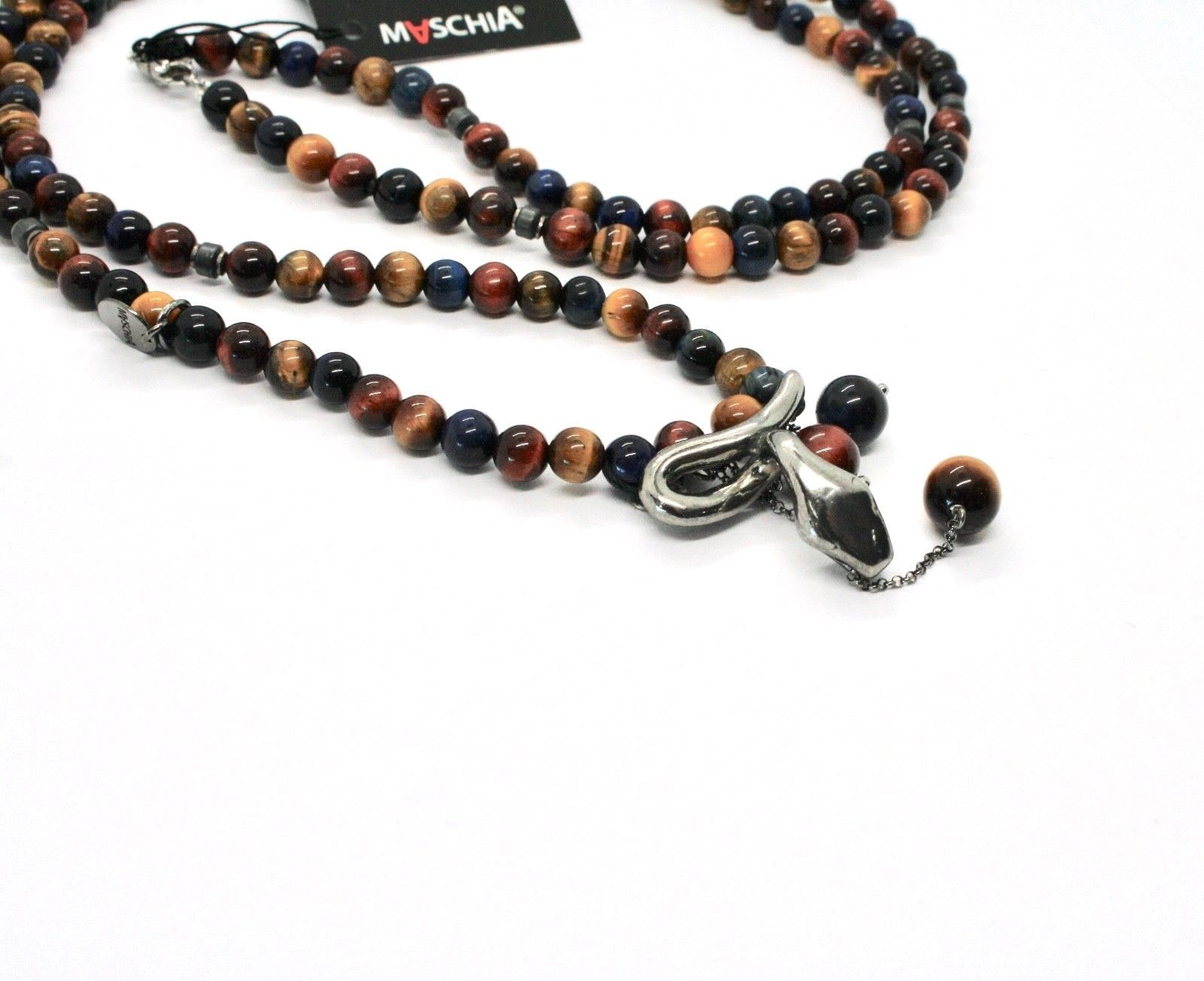925 Sterling Silver Necklace with Snake & Tiger's Eye Made in Italy by Maschia
