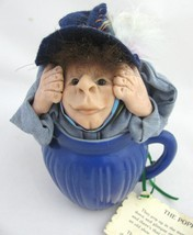 Vintage Poppet Doll Kitchen Cup Witch Figure Hand Made Clay Troll Folk A... - $39.59
