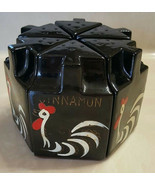 Vintage RARE Black Spice Jars Hand Painted Roosters Set of 6 Japan  - $26.31 CAD