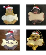 CAT or DOG CHRISTMAS ORNAMENT-w/Bone Fish-Decoration Pet Gift-PERSONALIZ... - $3.97