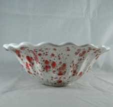 Vintage 8in. White Scalloped Serving Bowl Compote Red Speckled Transfer ... - $22.40