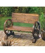 Wooden Wagon Wheel Bench Garden Loveseat Rustic Outdoor Park Furniture P... - $68.00