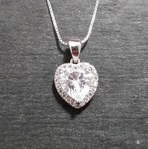 New 14k White Gold On 925 Double layer Heart Charm Pendant - $35.52