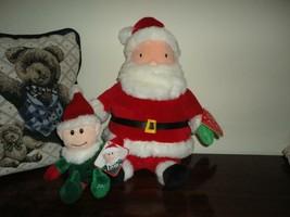 Hallmark Talking SANTA & Sears ELVIN ELF Lot of 2 Christmas Plush NEW - $59.95