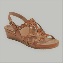 Earth Leather or Suede Cut-out Wedges, Brown, 10 M - $49.49
