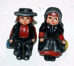 Pair of Cast Iron Figurine Children Ride on a W... - $18.29