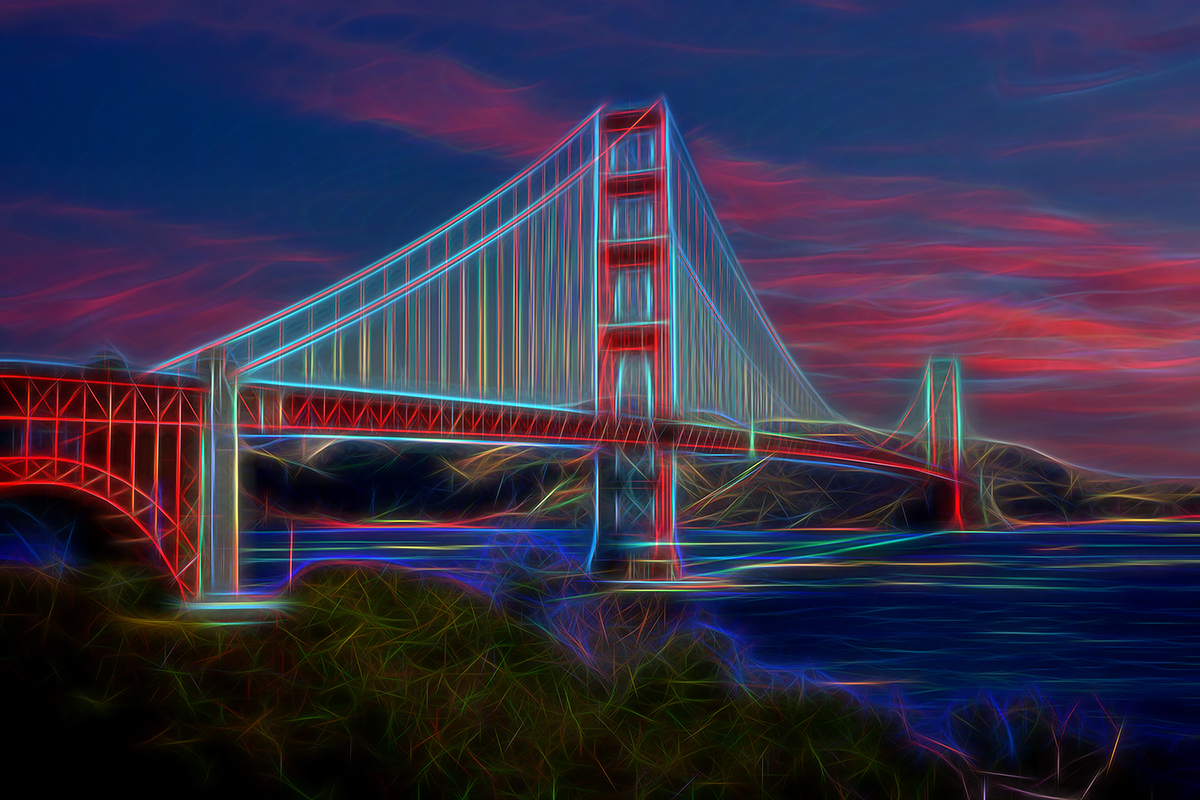 Golden Gate Neon, Fine Art Photos, Paper, Metal, Canvas Prints