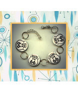 ROUTE 66 HIGHWAY Sign U.S. Altered Art Button Charm Bracelet with Rhinestone - $17.00