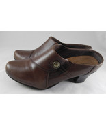Michel M. Women's Brown Leather Mules Comfort Slip-On Heels Maryport Siz... - $21.99