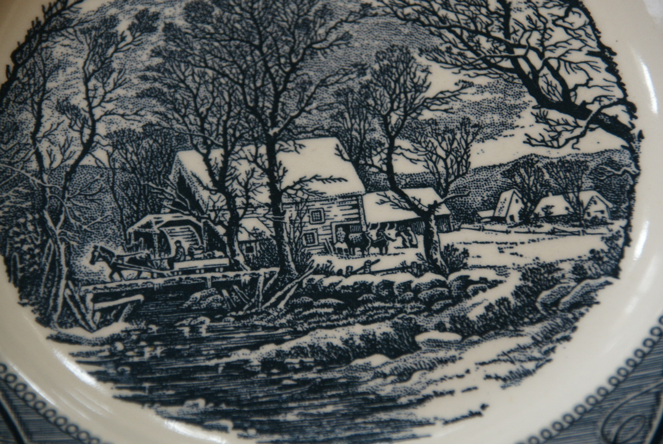Royal China Jeannette Currier & Ives Horse Drawn Carriage Winter Scene Plate