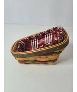 "Longaberger Cilantro Basket Handwoven With Stripe Lining 1999 Size 6""x2.... - $22.88"