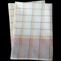 Set of 2 Pastel Plaid Tea Towels, 100% French Lint Free Cotton - $18.00