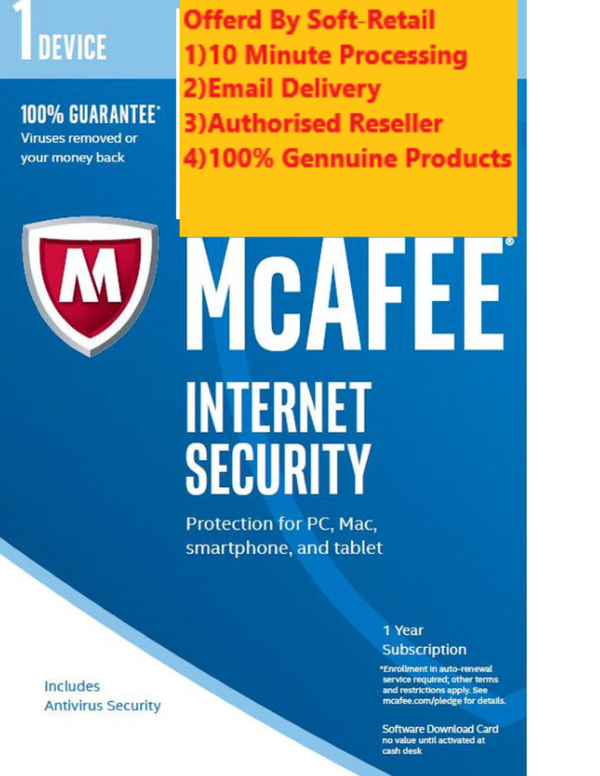 Mcafee livesafe internet security activation code | One Year