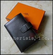 AUTH BNIB $2500 Hermes TOP 24 WALLET PURSE Buffle Gala Leather EBENE - $1,250.00
