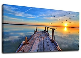 yearainn Large Canvas Wall Art Peaceful Blue Lake and Dock Bridge Painti... - $90.80