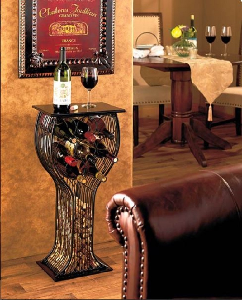 Wine Storage & Serving Table Wine Glass Shaped Metal & Wood Holds 8 Bottles