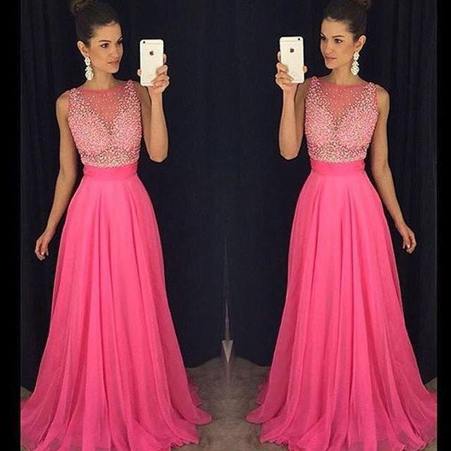 hot pink prom dress,long prom Dress,cheap Prom Dress,2018 prom dresses