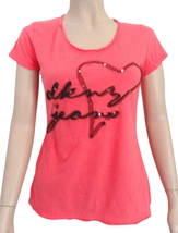 DKNY Jeans pink tee size XS Xsmall Logo sequins top  - $10.95