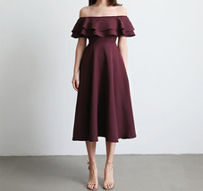 A Line Off Shoulder Tea Dress Wedding Bridesmaid Dress, Green Blush Burgundy image 7