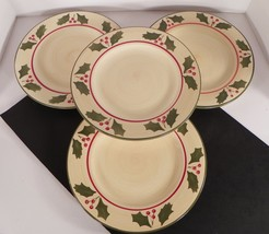 Home VICTORIAN HOLLY Dinner Plate (s) LOT OF 4 Red Berry Green Leaves - $27.67