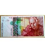 SPAIN PRE EUROZONE 2000 PESETAS - VERY NICE AU COLORFUL BANK NOTE - €3,19 EUR
