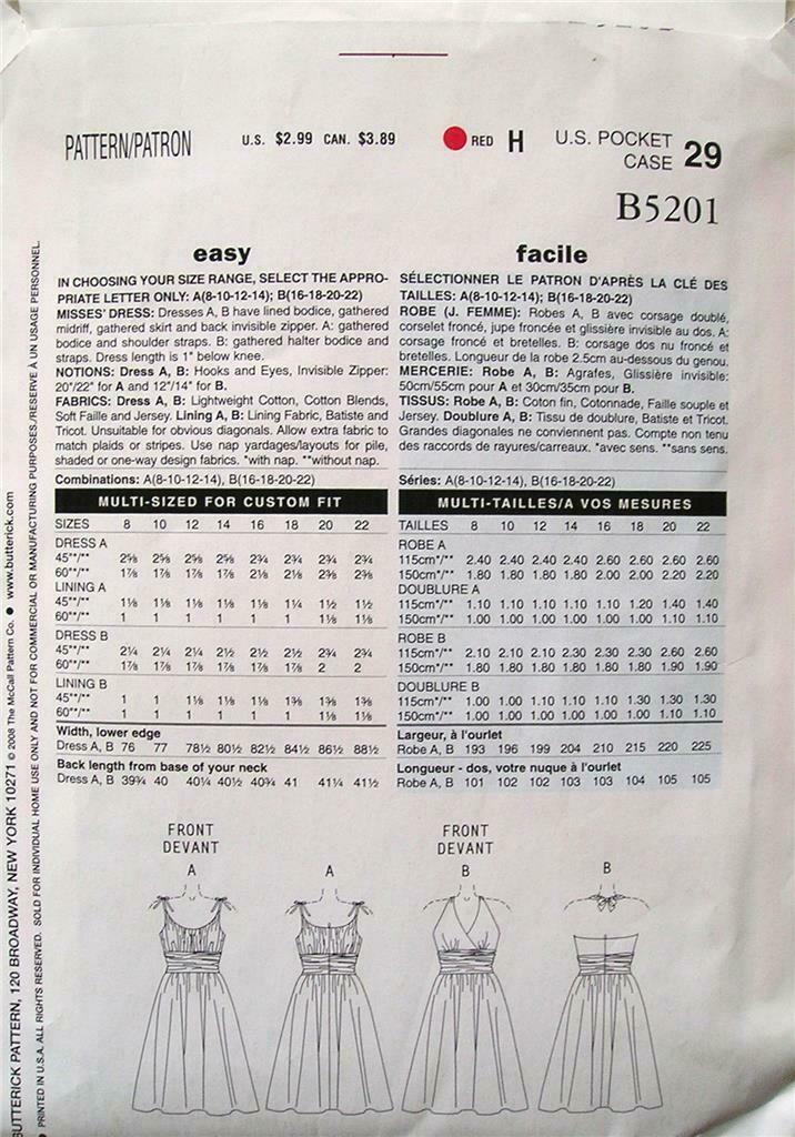 Butterick See & Sew Pattern B5201 Size 8-14 Misses' Dress Uncut 2 Styles OOP