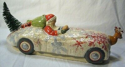 Vaillancourt Folk Art Santa on Jaquar Reindeer Signed Collector's Wkend last one