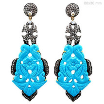Gemstone Carved Turquoise Dangle Earrings 14k Gold 1.4ct Diamond Pave 92... - $1,386.69