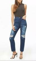 American Bazi High Rise Jeans Boyfriend Denim Distressed Dark Blue Size ... - $12.18