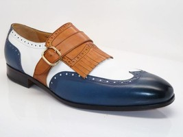 Handmade Men's Multi Colors Wing Tip Monk Strap Shoes image 4