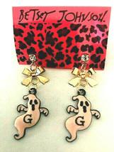 Halloween Betsey Johnson Cute Pink Enamel Ghost with Bow Dangle Post Ear... - $5.99