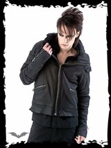 Mens Black Goth Punk Fall Spring Big Collar Jacket Baggy Biker Style Coat - $97.88