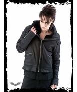 Mens Black Goth Punk Fall Spring Big Collar Jacket Baggy Biker Style Coat - $97.88