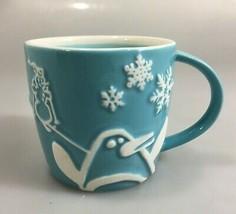 Starbucks Holiday 2007 Blue Coffee Mug Penguin Snowman Snowflakes Trees ... - $24.45