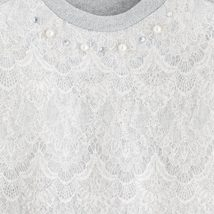 Mayoral Tween Girls High Low Hem Woven Lace Knit Sweater image 3
